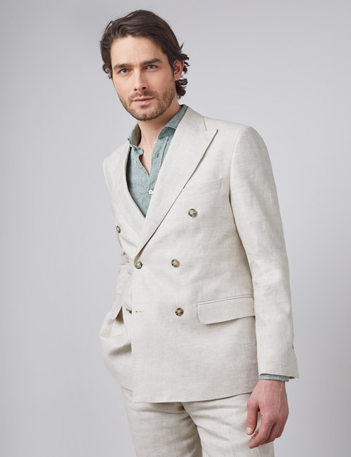 Men's Cream Double Breasted Plain Linen Tailored Fit Suit Jacket