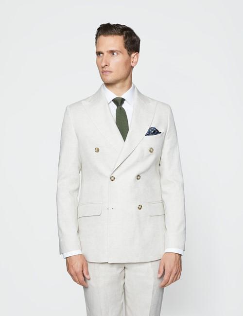 Men's Cream Double Breasted Plain Linen Tailored Fit Suit Jacket