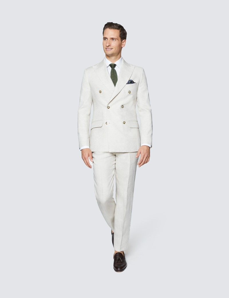 Linen Men/'s Suit Tuxedos Double Breasted Formal White 2 Piece Slim Fit Tailored