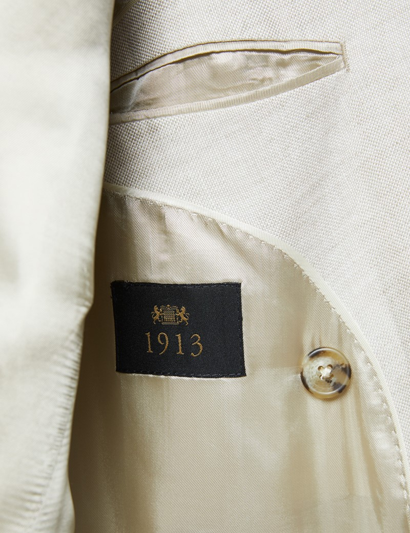 Men's Cream Double Breasted Linen Tailored Fit Italian Suit -1913 Collection