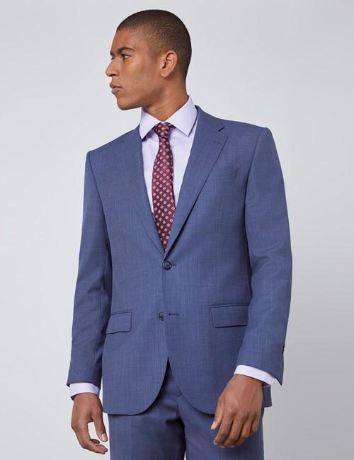 Men's Dark Blue Tailored Fit Italian Suit Jacket - 1913 Collection