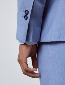 Luxuriöses Anzugsakko - Slim Fit - 120S Wolle - 2-Knopf Einreiher - Seitenschlitze - Hellblau