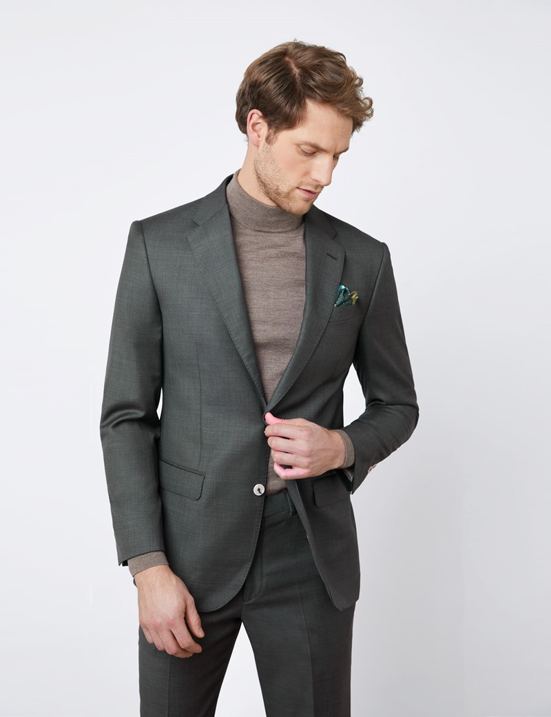 Men's Green Tailored Fit Italian Suit Jacket – 1913 Collection