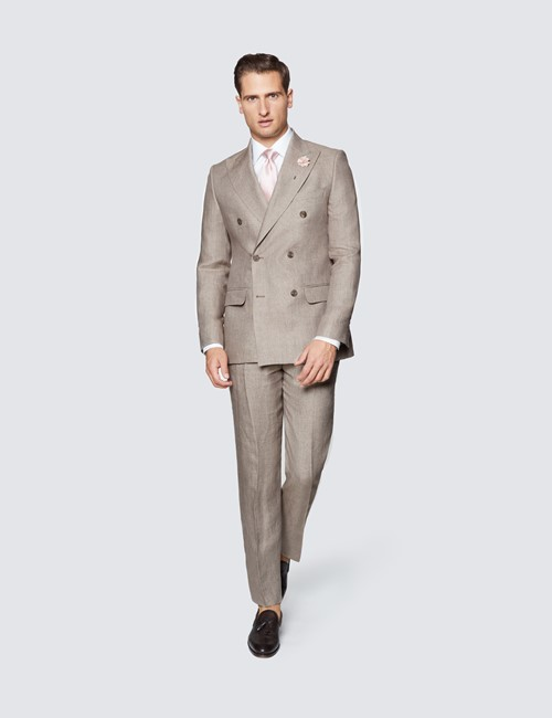 Men's Brown Semi Plain Linen Tailored Fit Double Breasted Italian Suit Jacket - 1913 Collection
