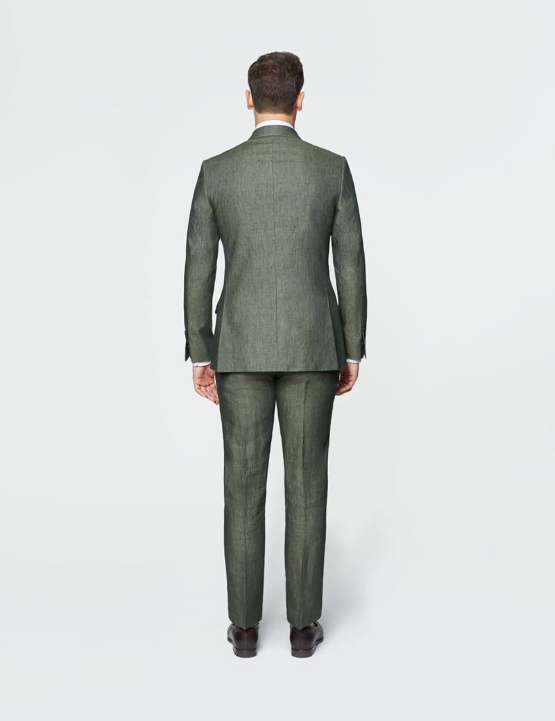 Men's Dark Green Semi Plain Linen Tailored Fit Double Breasted Italian Suit Jacket - 1913 Collection