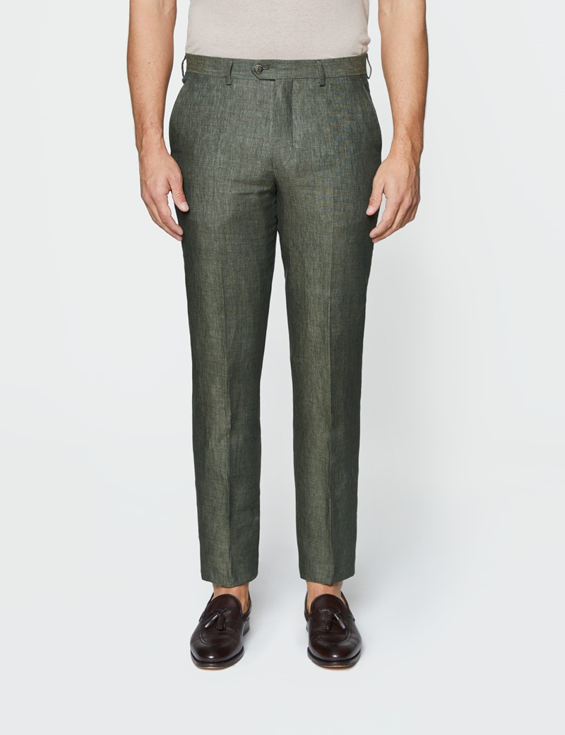 Men's Dark Green Semi Plain Linen Tailored Fit Double Breasted Italian Suit - 1913 Collection