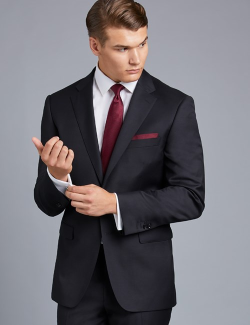 Men's Black Twill Classic Fit Suit Jacket