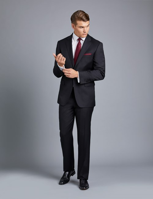 Men's Black Twill Classic Fit Suit