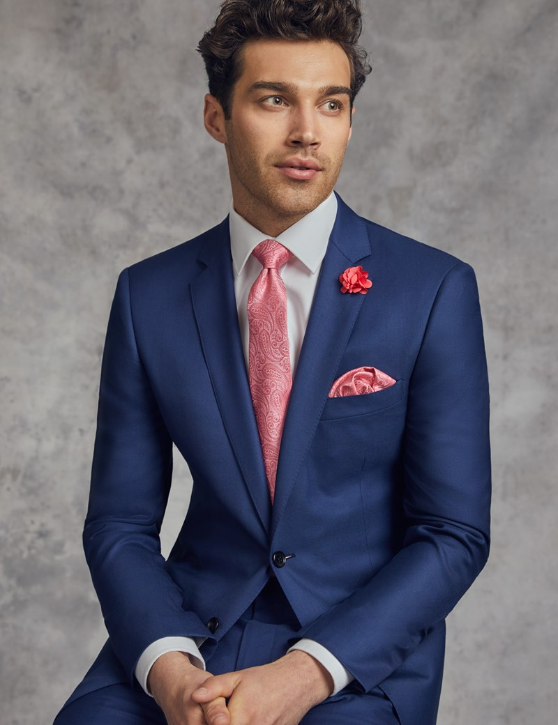Men's Royal Blue Twill Classic Fit Suit Jacket