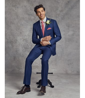 Anzug aus strapazierfähiger 100s Wolle - Classic Fit - Twill königsblau