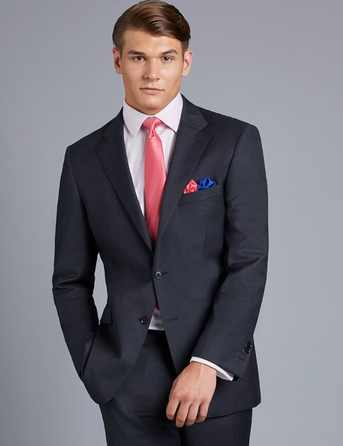 Men's Dark Charcoal Twill Classic Fit Suit Jacket
