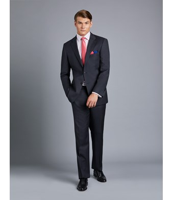 Anzug aus strapazierfähiger 100s Wolle - Classic Fit - Twill anthrazit
