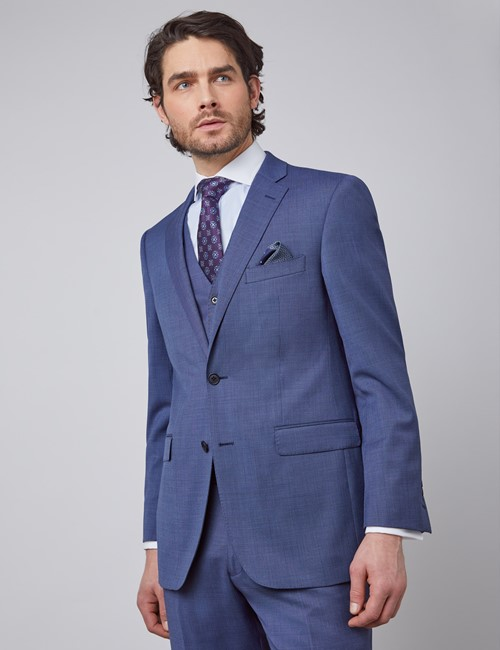 Men's Blue Pin Dot Semi Plain Classic Fit Suit Jacket