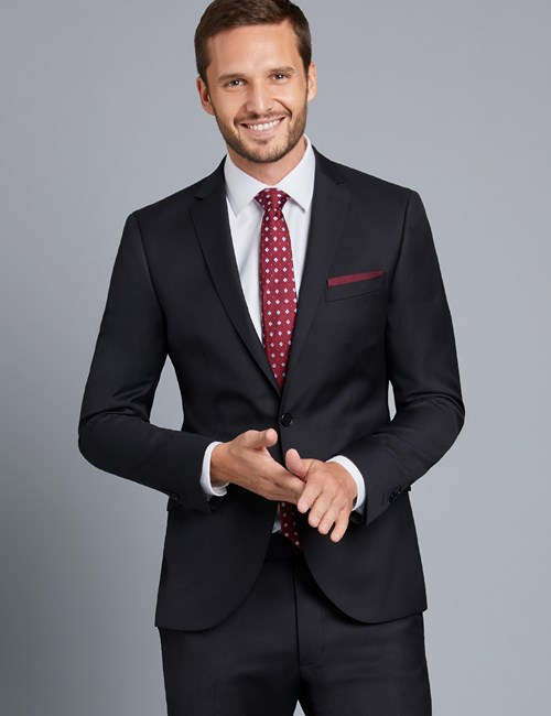 Men's Black Twill Extra Slim Fit Suit Jacket