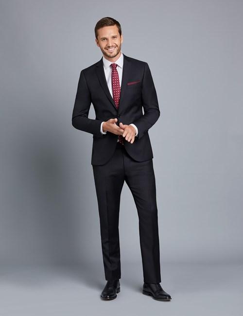 Anzug aus strapazierfähiger 100s Wolle  - Extra Slim Fit - Twill - Schwarz