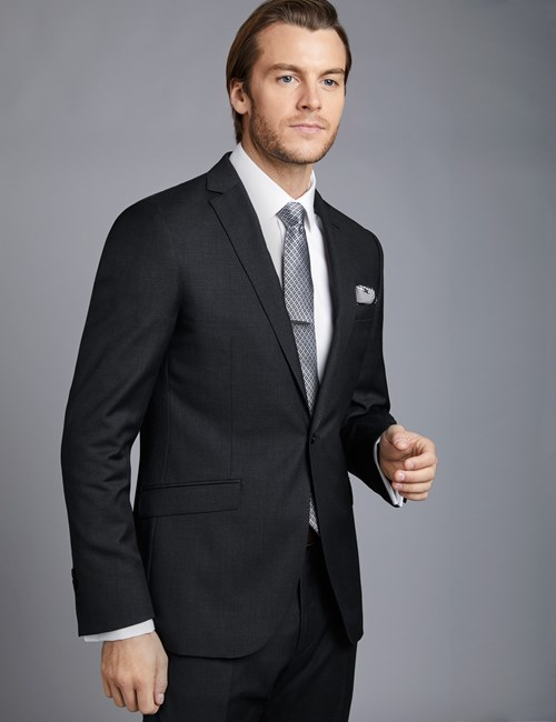 Men's Dark Charcoal Twill Extra Slim Fit Suit Jacket
