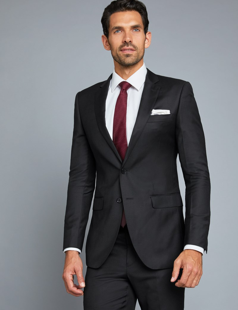 Men's Black Twill Extra Slim Fit Suit Jacket with Two Front Buttons