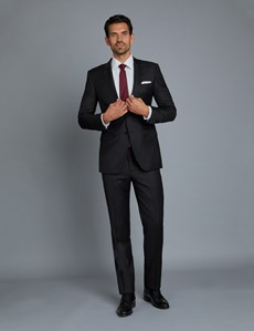 Anzug aus strapazierfähiger 100s Wolle  - Extra Slim Fit - Twill schwarz