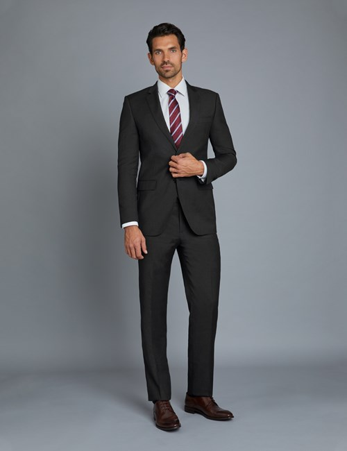 Men's Dark Charcoal Twill Extra Slim Fit Suit with Two Front Buttons