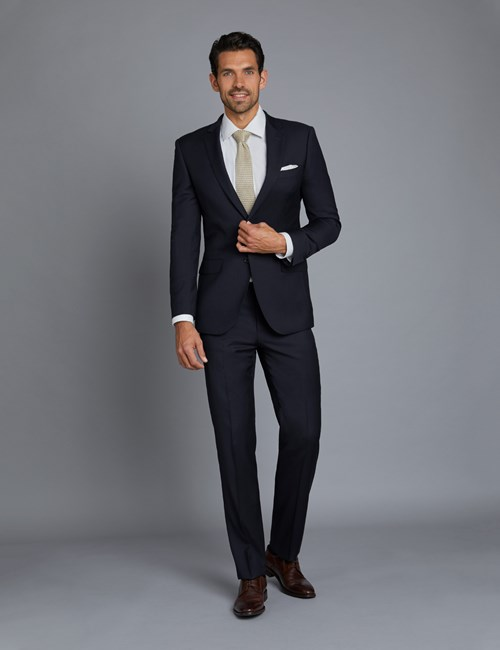 Men's Navy Twill Extra Slim Fit Suit with Two Front Buttons