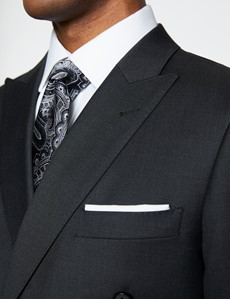 Men's Dark Charcoal Twill Double Breasted Slim Fit Suit Jacket