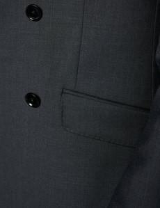 Men's Dark Charcoal Twill Double Breasted Slim Fit Suit
