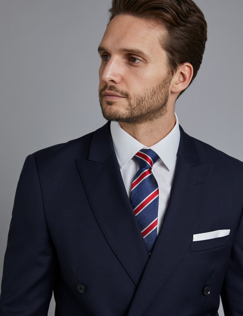 Men's Navy Twill Double Breasted Slim Fit Suit Jacket