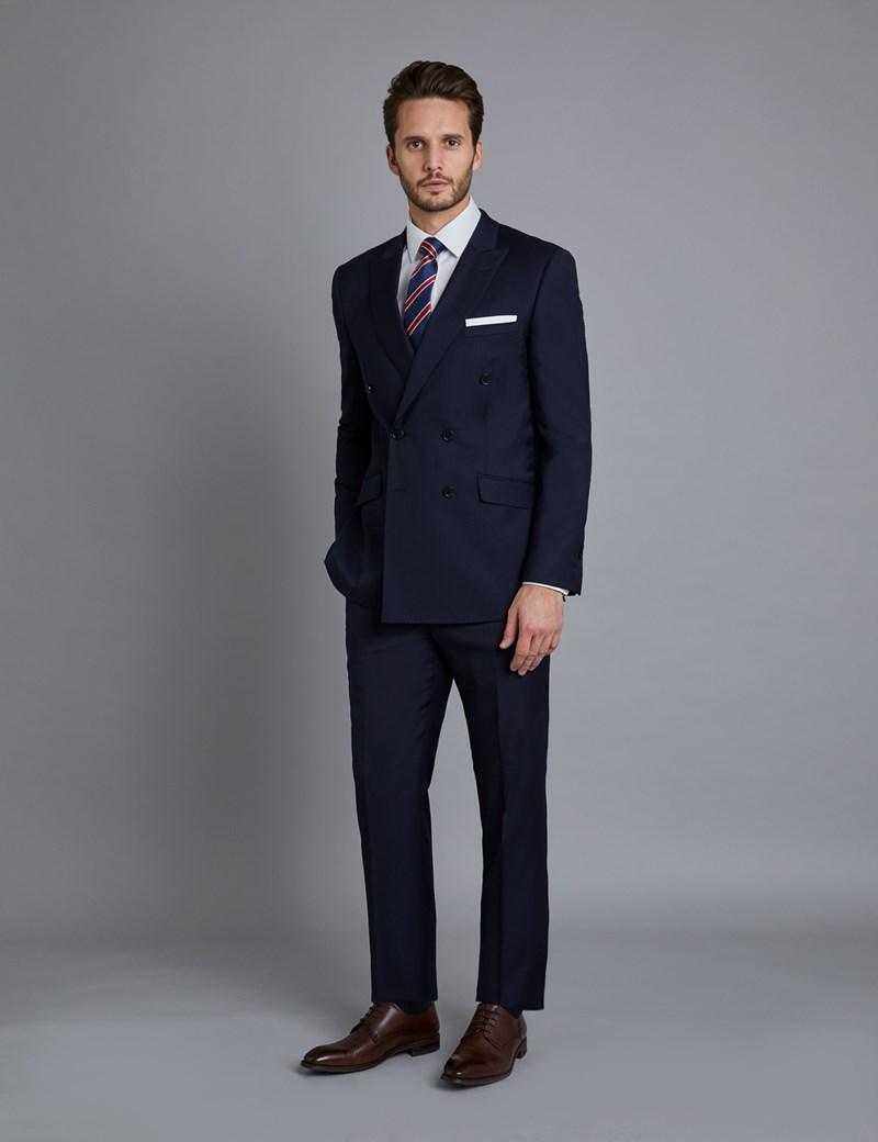 Anzug aus edler 100s Wolle Slim Fit Zweireiher Twill dunkelblau