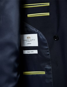Men's Navy Twill Slim Double Breasted Fit Suit