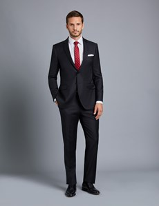 Men's Black Twill Slim Fit Suit Jacket