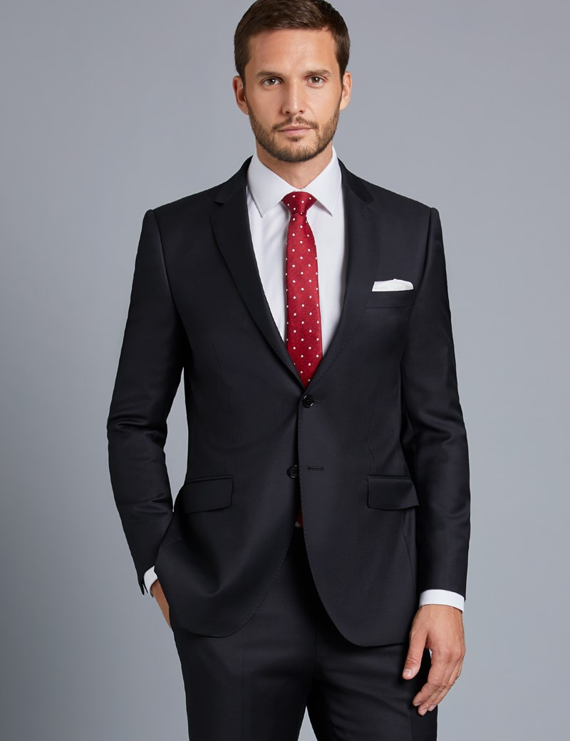 Men's Black Twill Slim Fit Suit