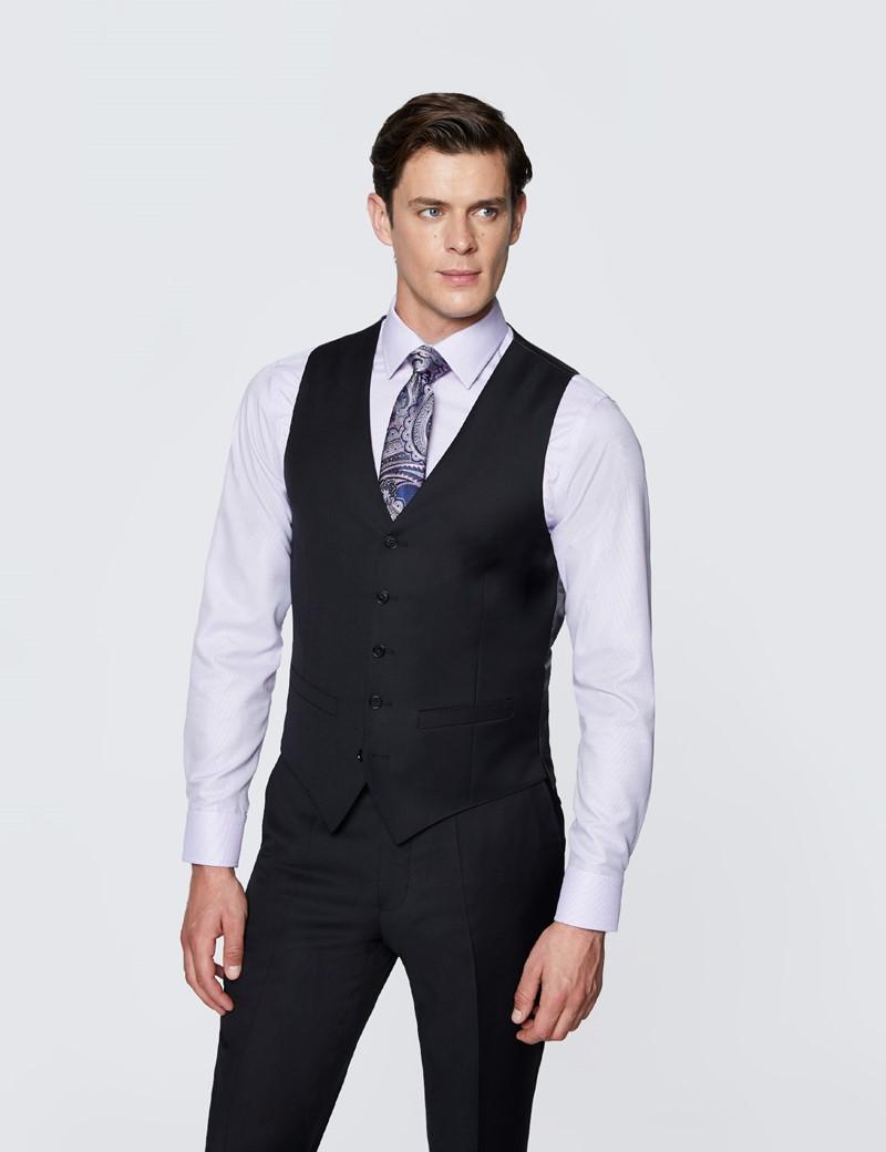 Men's Black Twill Slim Fit Suit