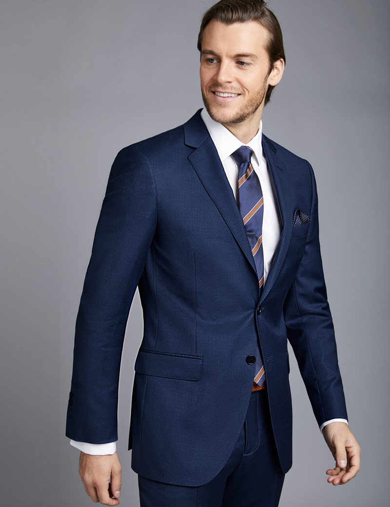 Men's Royal Blue Twill Slim Fit Suit