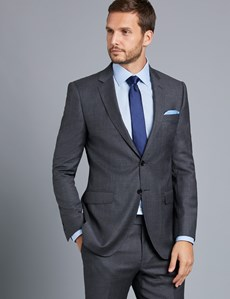 Men's Charcoal Twill Slim Fit Suit Jacket