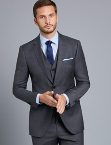 Men's Charcoal Twill Slim Fit Suit