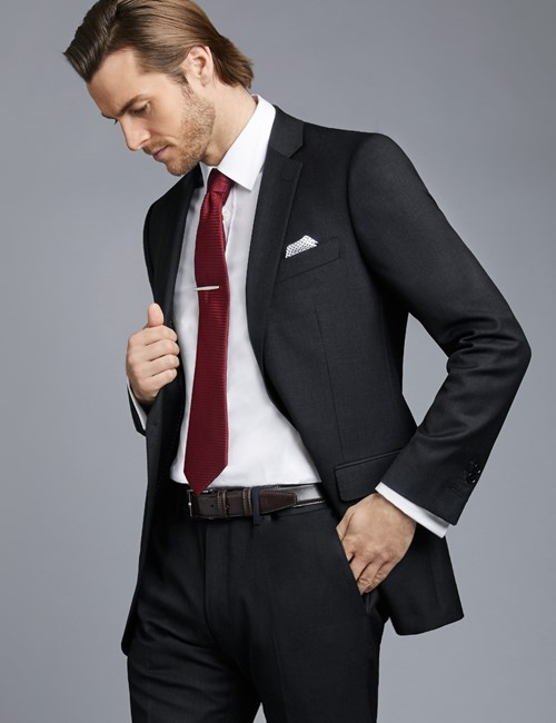 Men's Dark Charcoal Twill Slim Fit Suit Jacket