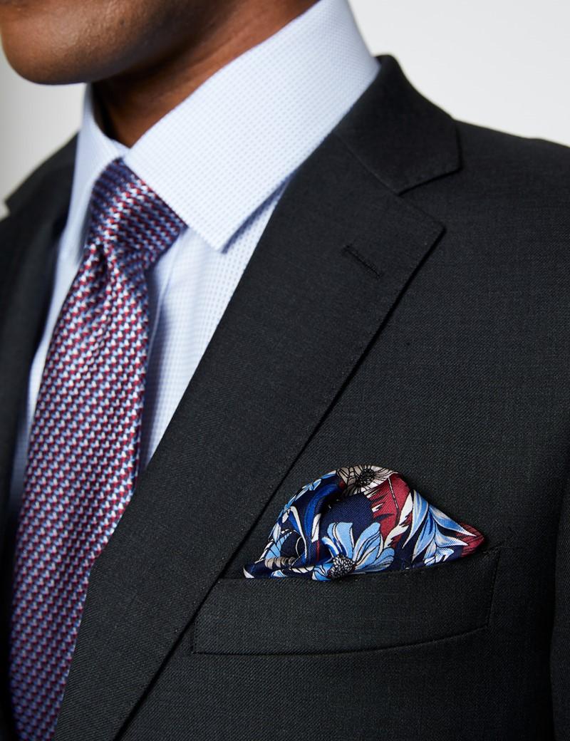 Men's Dark Charcoal Twill Slim Fit Suit Jacket