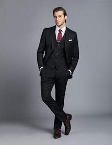 Men's Dark Charcoal Twill Slim Fit Suit