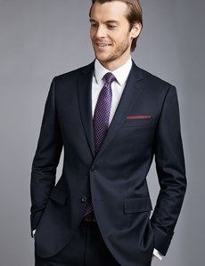 Men's Navy Twill Slim Fit Suit Jacket