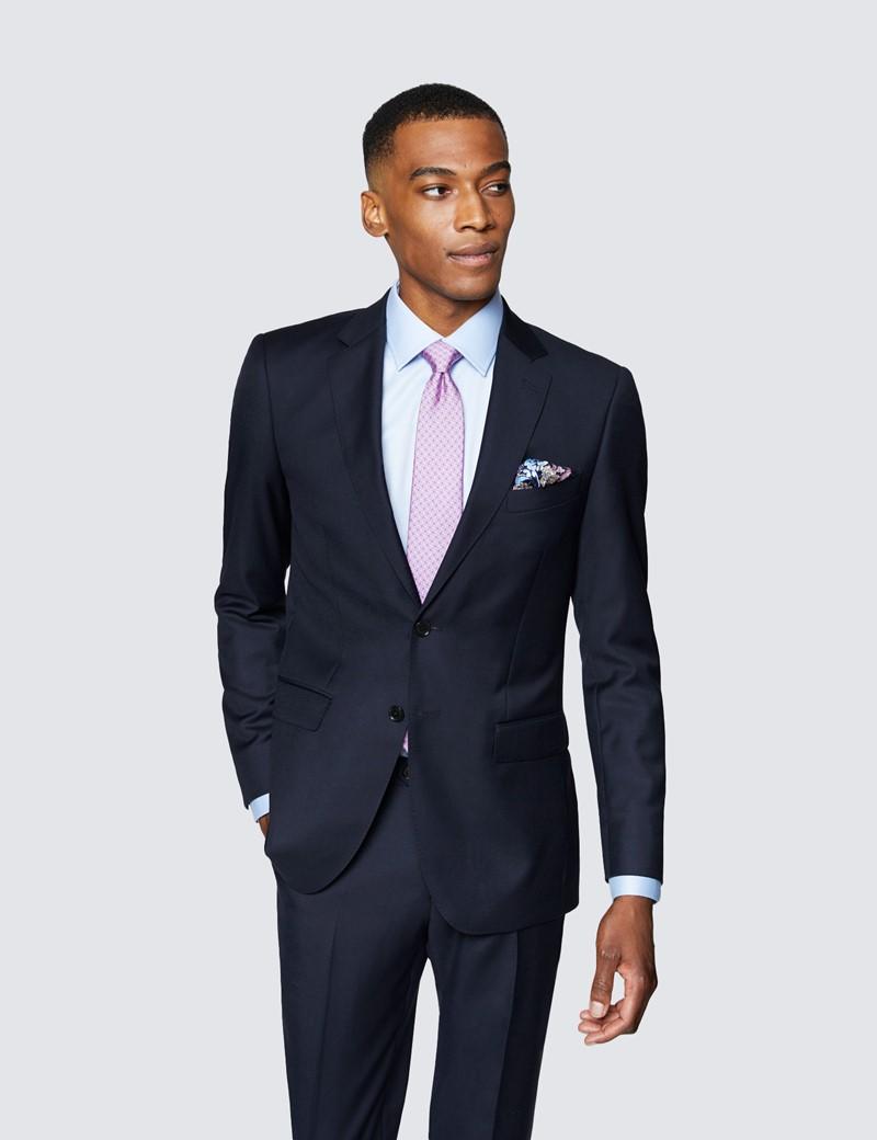 Men's Navy Twill Slim Fit Suit Jacket