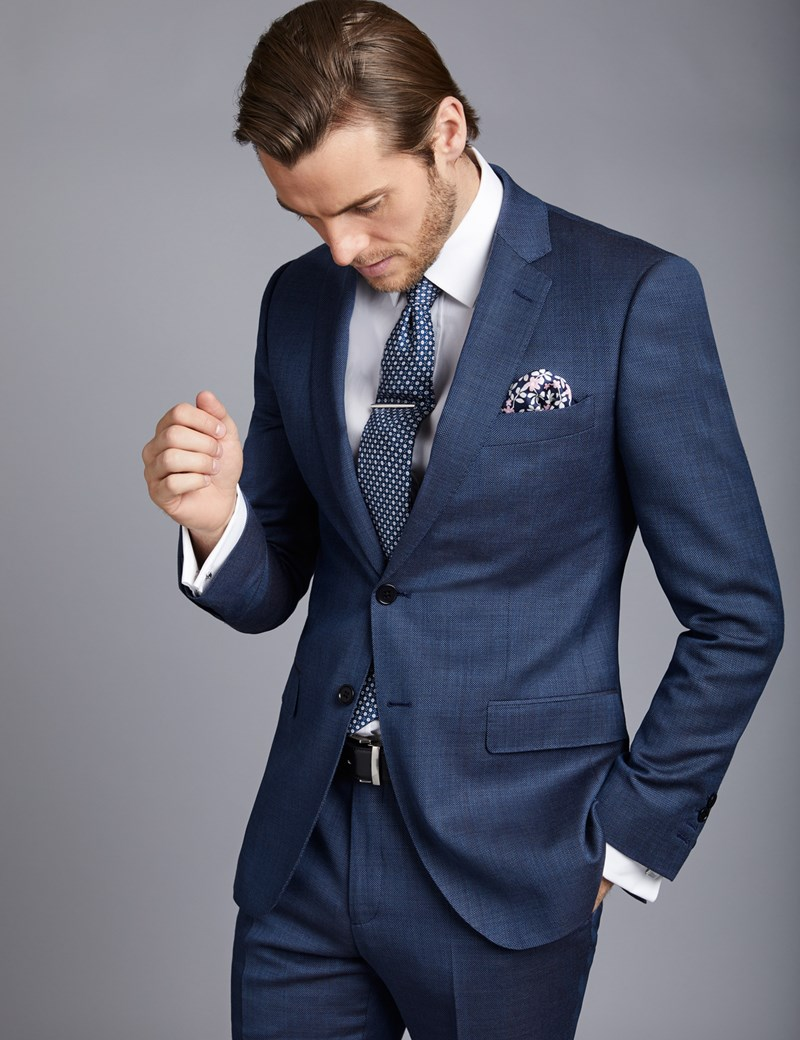 Men's Mid Blue Birdseye Slim Fit Suit Jacket