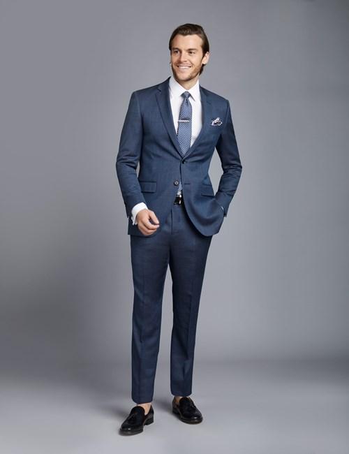 Anzug aus strapazierfähiger 100s Wolle - Slim Fit - Pfauenaugenmuster mittelblau