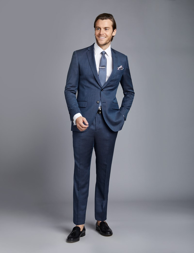 Men's Mid Blue Birdseye Slim Fit Suit