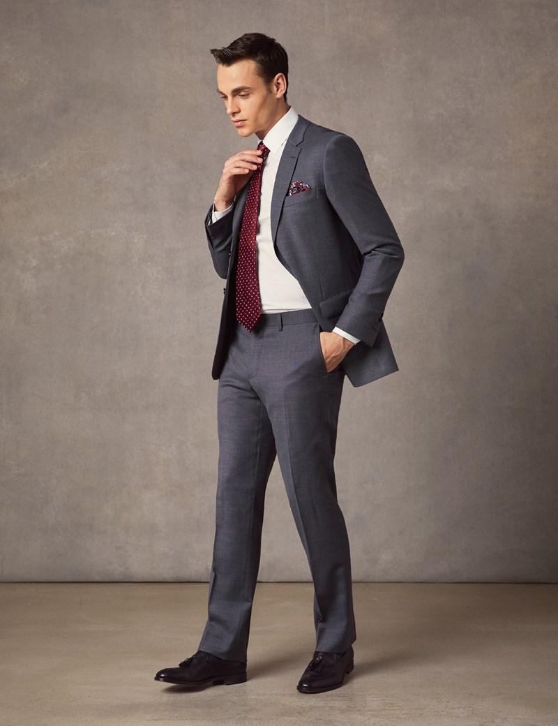 Men's Mid Grey Birdseye Slim Fit Suit Jacket