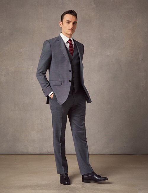 Men's Mid Grey Birdseye Slim Fit Suit