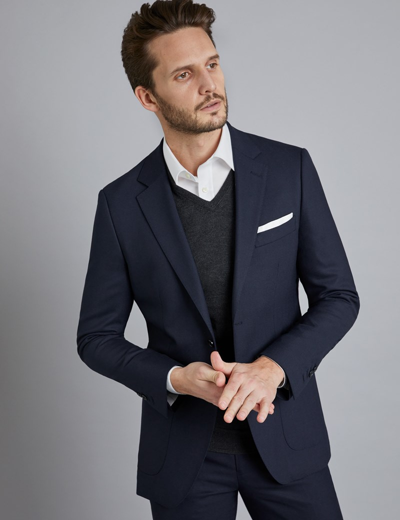 Men's Navy Slim Fit Travel Suit Jacket
