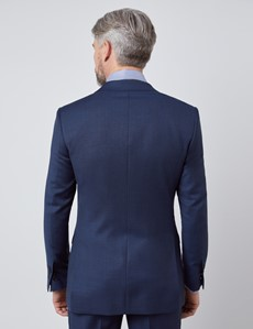 Men's Textured Navy Slim Fit Suit Jacket