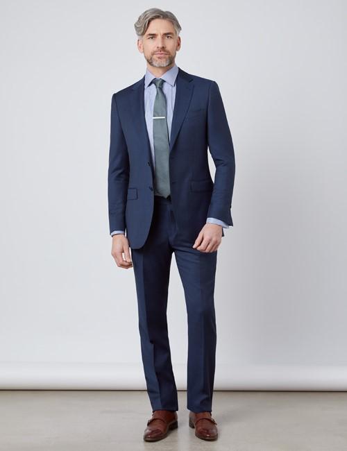 Anzug - Slim Fit - navy leicht strukturiert - 100S Wolle - 2-Knopf Einreiher