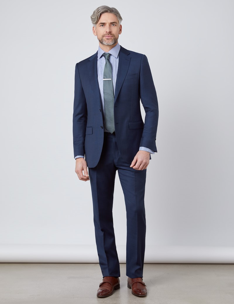 Men's Textured Navy Slim Fit Suit