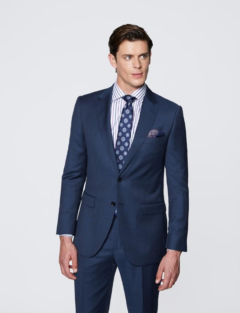Men's Textured Navy Slim Fit Suit